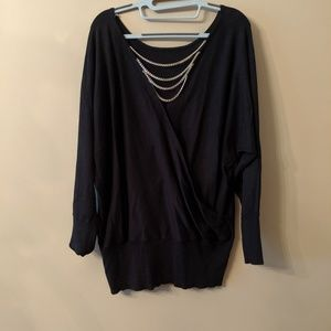 NWOT- Black Tunic Sweater with Chains in Back